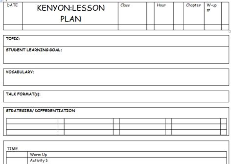 lesson plan template primary school k k club 2017