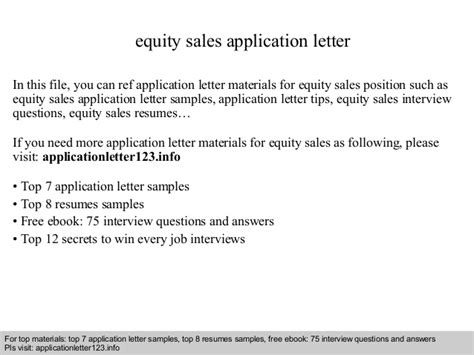 Application Letter Sales Equity Sales Application Letter