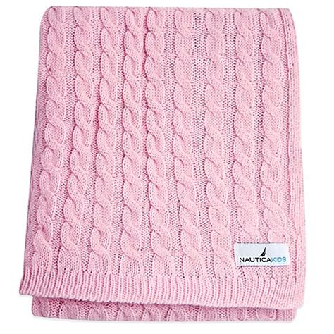 cable knit bedding nautica kids 174 mix match cable knit blanket in pink buybuybaby com