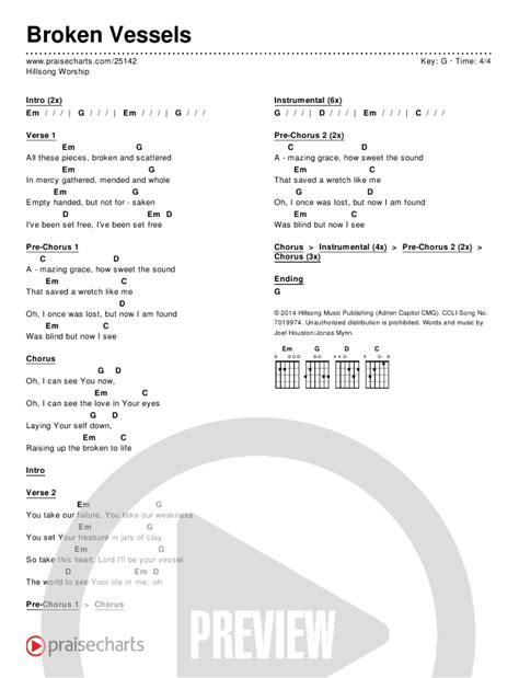 hillsong worship broken vessels chord chart   p