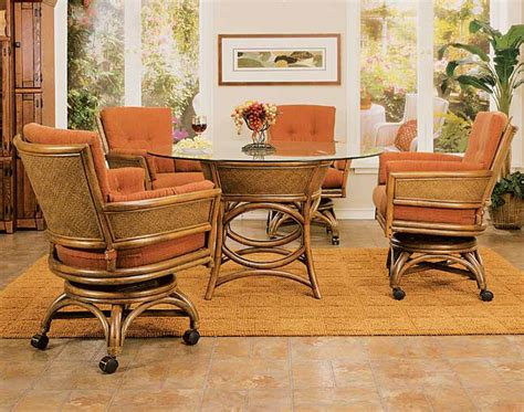 dining room sets with caster chairs 8020td5 taipei rattan wicker dining set w caster chairs