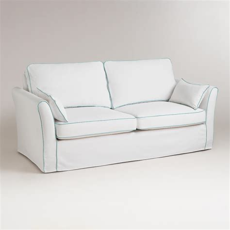 white sofa slipcover white and blue luxe sofa slipcover world market