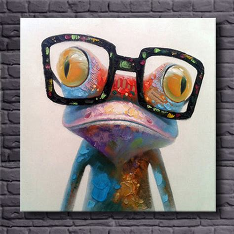 fashion animal framed painting with acrylic glass ready to hang wall art prints with wooden online buy wholesale frog oil painting from china frog oil