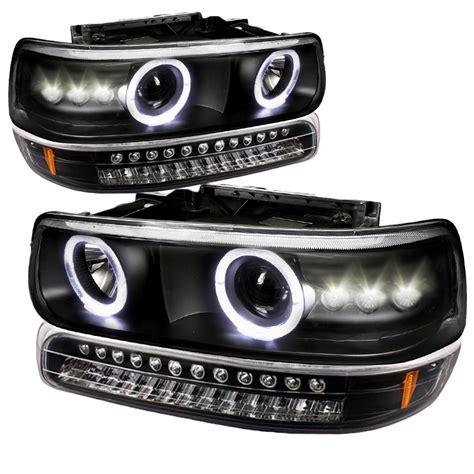 99 02 chevy silverado suburban tahoe halo projector headlights led bumper lights black