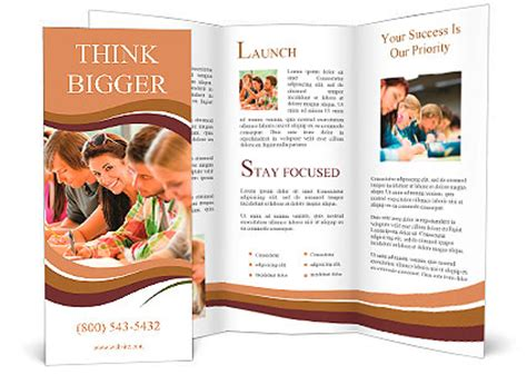 High School Brochure Template students writing at high school study cus