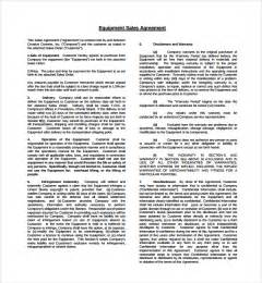 Equipment Agreement Template sample equipment purchase agreement 6 free documents