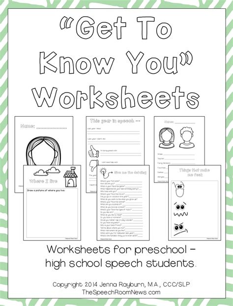 Getting To You Worksheets by Get To You Packets For Speech Therapy Speech Room News