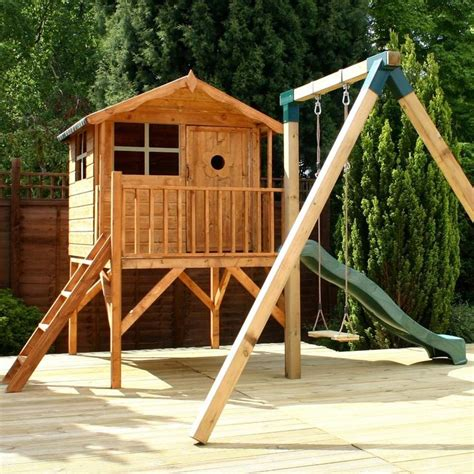 childrens wooden garden swing best 25 wooden playhouse with slide ideas on pinterest