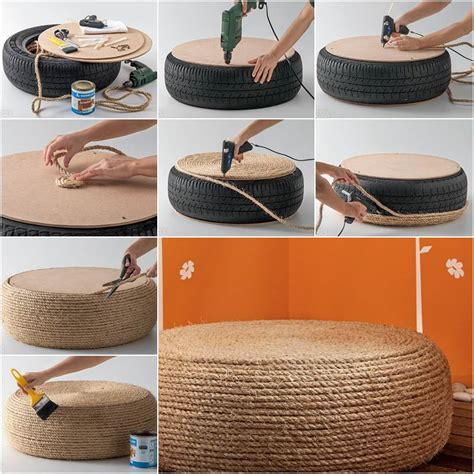 rope tire ottoman how to make pouf chair from old tire diy tutorial
