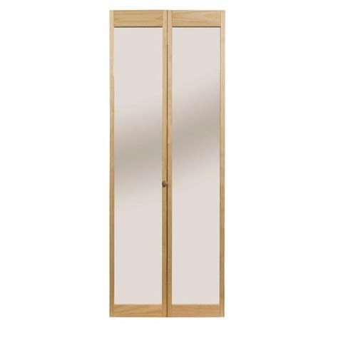 Closet Bi Fold Doors Pinecroft 24 In X 80 In Traditional Mirror Wood Universal Reversible Interior Bi Fold Door