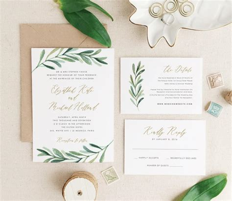 invitation templates for pages mac greenery wedding invitation template printable wedding