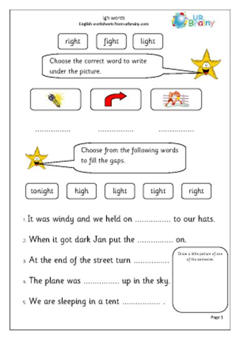 Igh Words Worksheets by Igh Words Worksheet For Key Stage 1