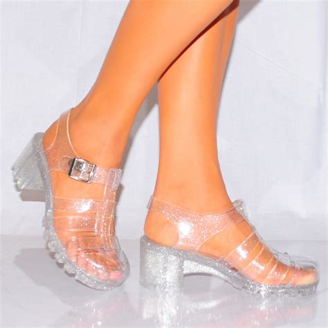 Flat Shoes Jl 83 clear glitter jellies cleated jellied platforms high