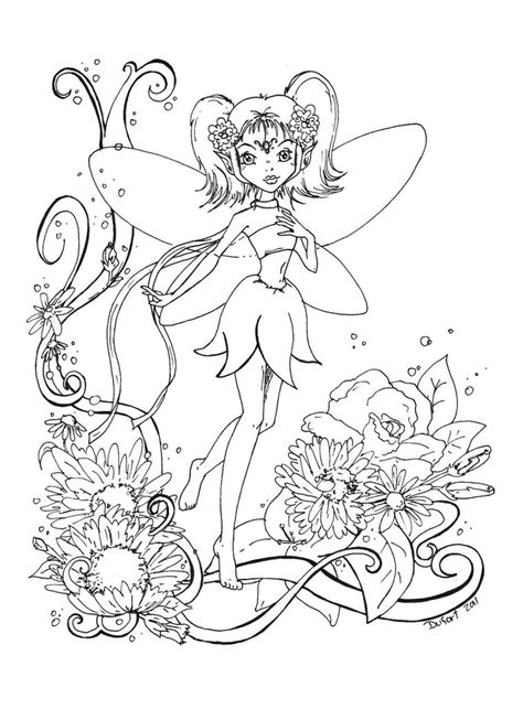 flowers fairy lineart by jadedragonne on deviantart