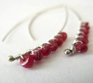 katherine handmade earrings red ruby and sterling by lotusstone ruby red earrings
