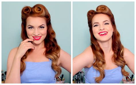 hairstyles for in late 50s 1940 s 50 s pinup hair and makeup youtube