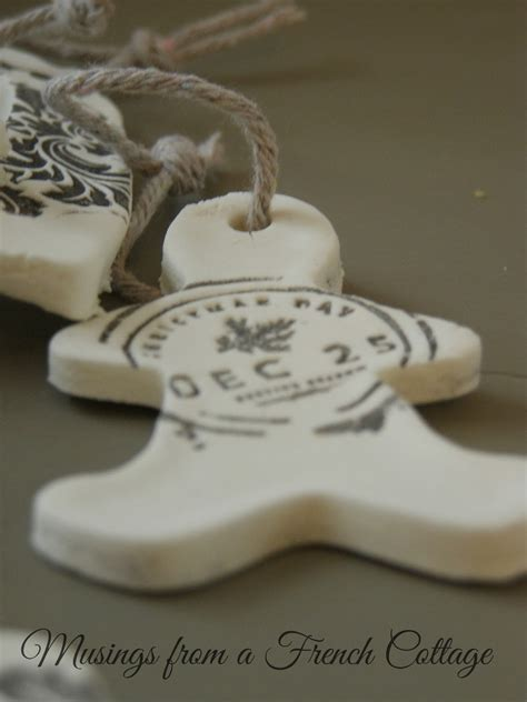 musings from a french cottage clay christmas ornaments or