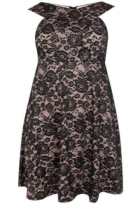 plus size lace overlay sleeveless romper dress black ax paris curve black nude lace overlay sleeveless skater