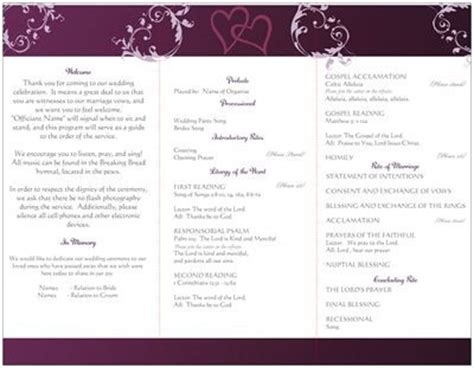 traditional wedding program templates wording for wedding program traditional catholic mass
