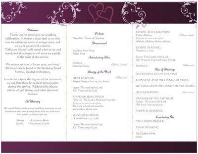 catholic mass wedding program template wording for wedding program traditional catholic mass