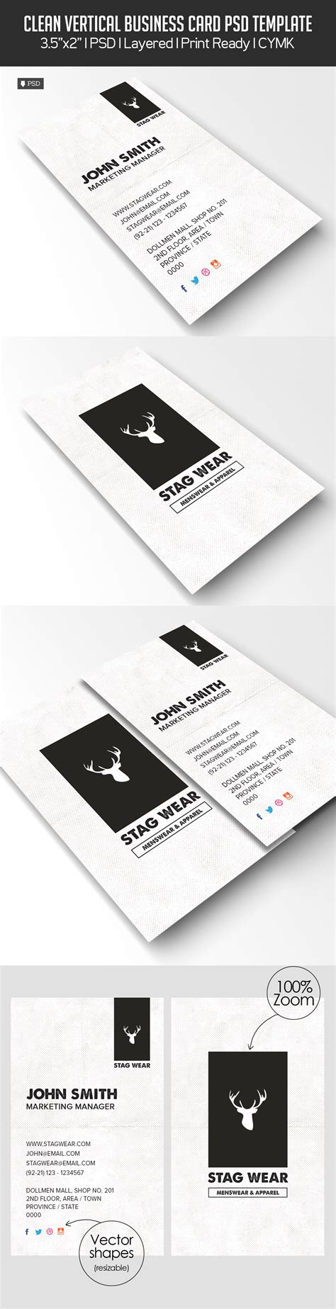 freebie vertical business card psd template freebies