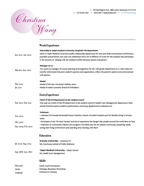 Best Font For Artist Resume by Christina Wang S Resume Gra617