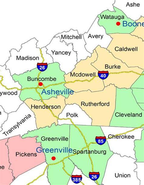 map of western carolina western carolina asheville and upstate south carolina wall maps