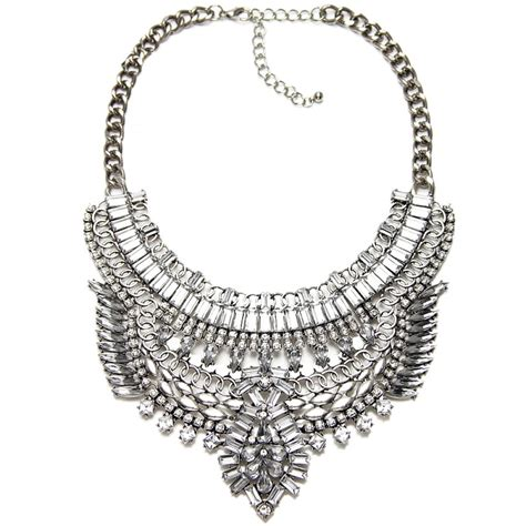 Western Chandelier Art Deco Diamante Crystal Silver Plated Bib Statement Necklace