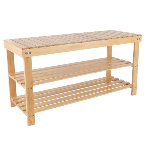 Bench Shoe Rack by Lavish Home 8 Pair Bamboo Bench And Shoe Organizer