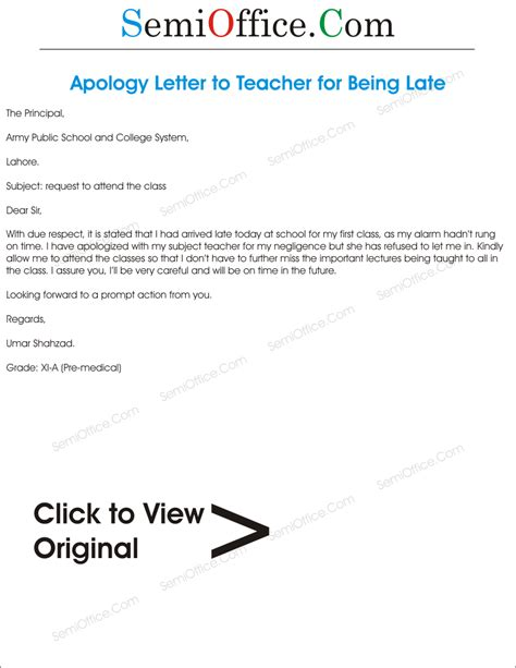Apology Letter To For Being Late Sle Apology Letter To