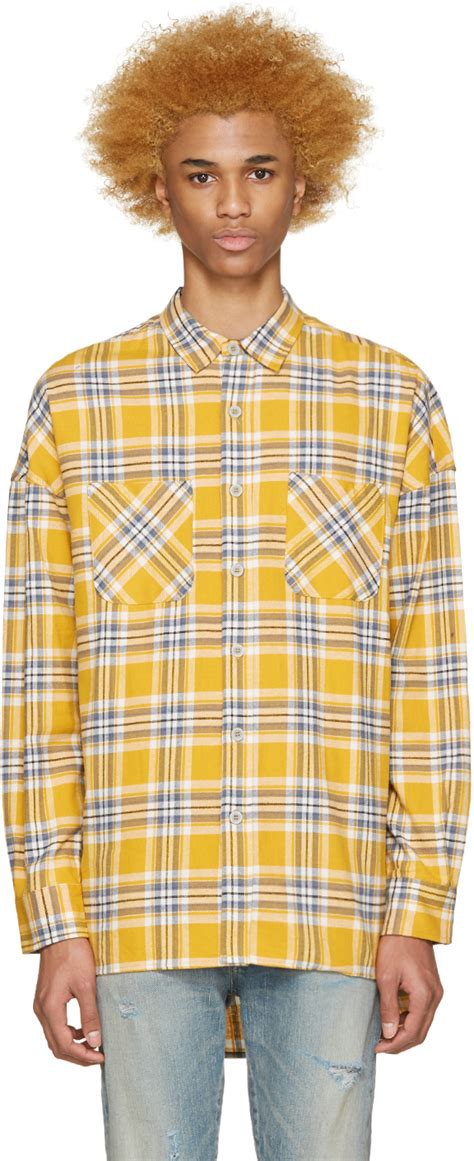Promo Fashion White Flanel fear of god yellow flannel check shirt in yellow for lyst