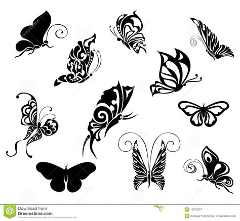 set of tattoo butterflies tattoo design royalty free