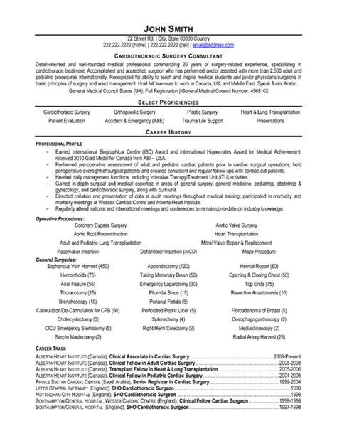 cardiothoracic surgeon consultant resume template