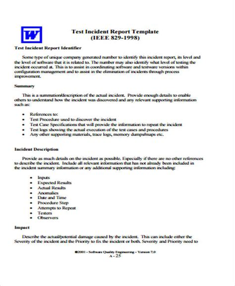 report testing template test procedure specification template photos resume