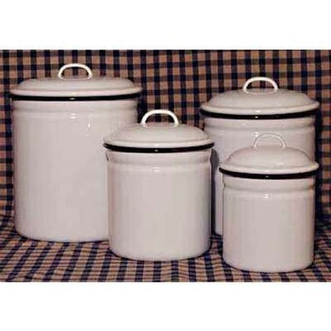 kitchen decorative canisters decorative kitchen canisters on set 4 white enamelware