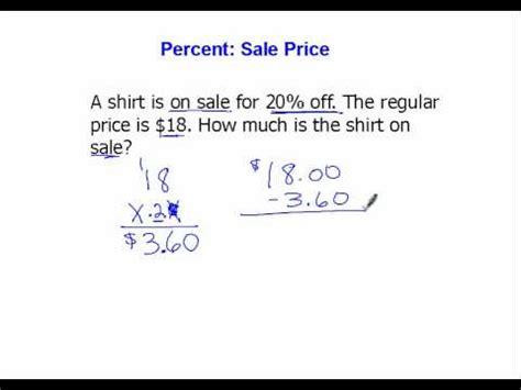 Find Sales Percent Sale Price Involving Percents