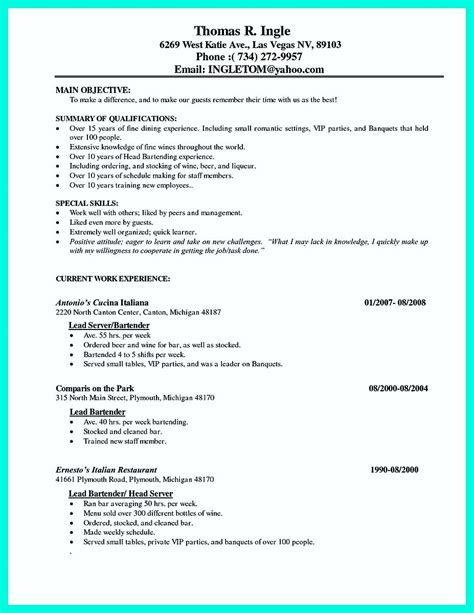 senior waiter cv sle cocktail server resume skills to convince restaurants or caf 233 resume template