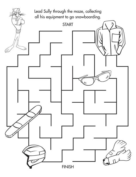 printable winter maze sully s winter maze freeprintable coloring and activity