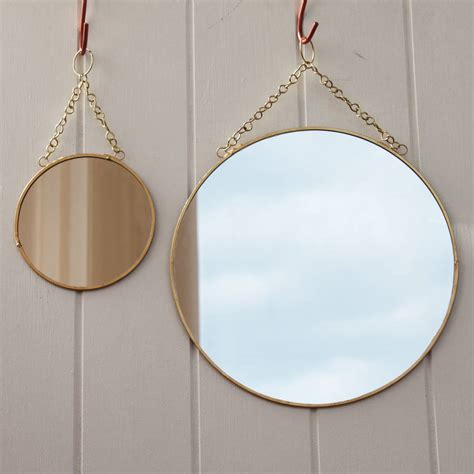 circular bathroom mirror brass circular mirror with chain by posh totty designs
