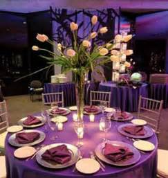 Gold Trumpet Vase Purple Table Decoration Idea For A Lovely Wedding Party