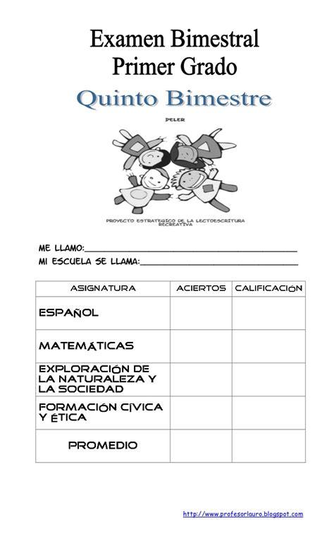 examen bimestral del primer bloque de sexto grado ciclo escolar 2014 examen 1 176 quot a quot quinto bimestre