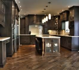 dark kitchen cabinets herringbone floor home ideas