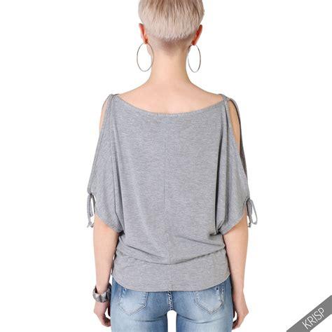 Outshoulder Shirt damen shirt top bluse 196 rmel geschlitzt schulterfrei