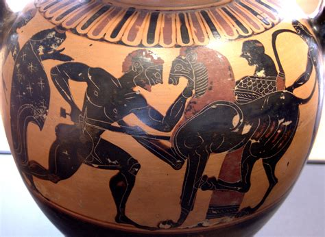 Black And White Floor Vase File Herakles Lion Louvre E812 Jpg Wikimedia Commons