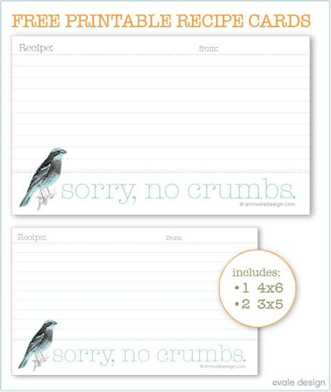 diy printable recipe cards diy free printable bird recipe card organize me pinterest