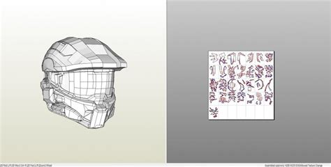 Master Chief Papercraft - papercraft pdo file template for halo 4 masterchief helmet