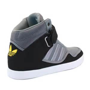 adidas adirise 2 0 q23038 mens laced leather high top trainers grey black