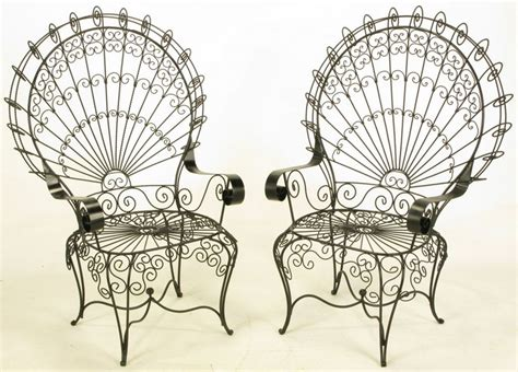 black satin lacquered iron  wire fan  garden chairs