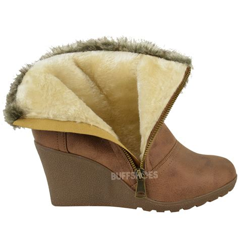 Wedge Platform Ankle Boots womens winter fur wedge platform ankle boots zip
