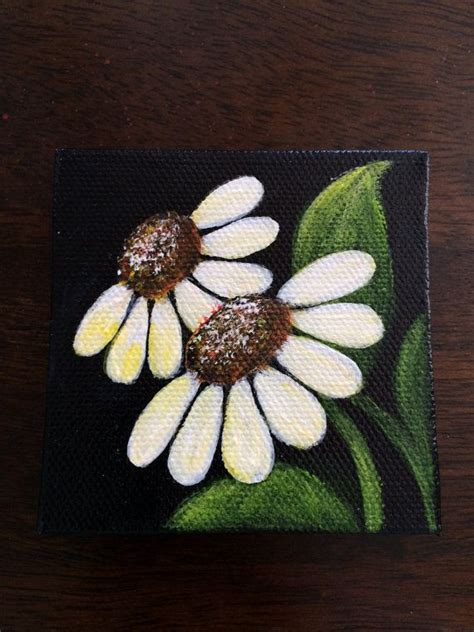 black background painting painted mini canvas magnet of white with yellow